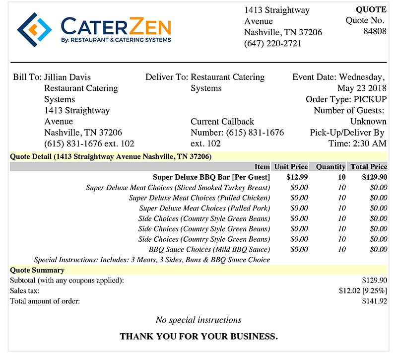 Catering Sales Software Restaurant Catering Systems